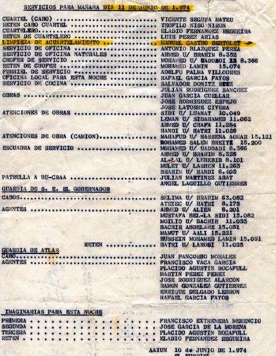 04-06.- Policía Territorial. 2ª Compañía. Servicios del día. Documento: Manuel Castro. El Aaiún, 1974-1975