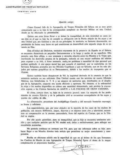 05-09b.- Un loable intento de tranquilizar a las familias de los destinados a la Agrupación de Tropas Nómadas. Documento: Enrique Prieto. Aargub, 1974-1975