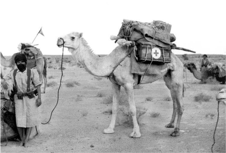 06-02.- Esperando el rancho en La Saguiat el Hamra. Foto: Martín Cerván. 1962-1963