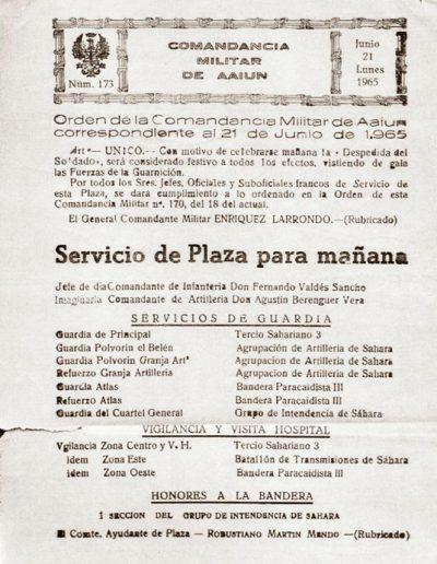 04-05.- Orden del día de la Comandancia Militar de El Aaiún. Documento: José Villar. Cabrerizas, 1964-1965
