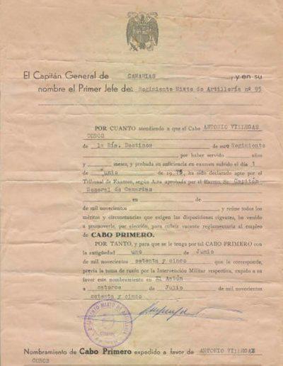 04-10b.- Ascenso a Cabo Primero. Documento: Antonio Villegas. El Aaiún, 1975
